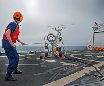 Launching UAV from deck of ship.