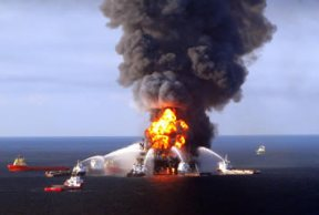 Photograph of burning rig.