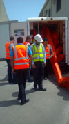 Lt. Irvin Jones inspects prepositioned equipment 4-11-2013, at Khalifa Bin Salman Port, Bahrain.